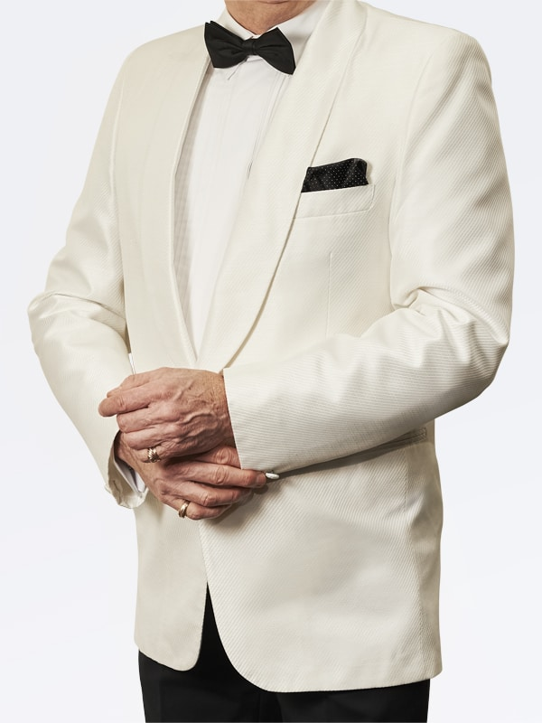 Trevor West White Shantung Tuxedo /Dinner Jacket